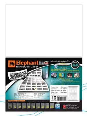 ตัวอย่างสินค้าป้ายสติ๊กเกอร์ตราช้าง BarcoDee Label